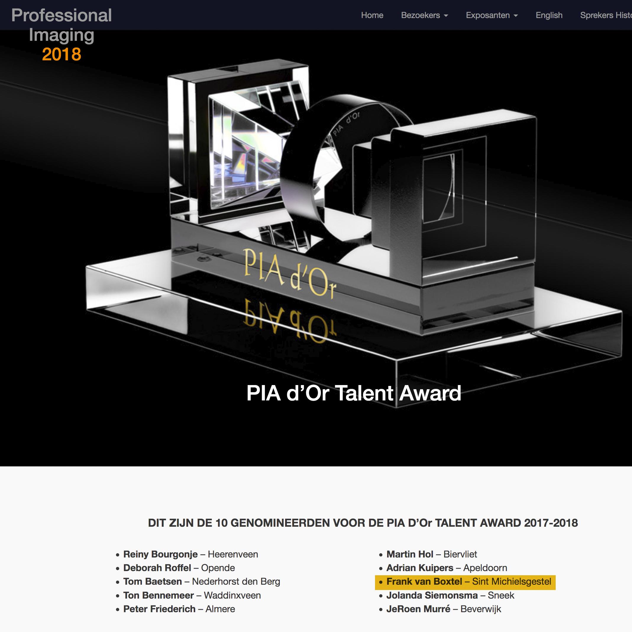 PIA d'Or Award 2017/2018